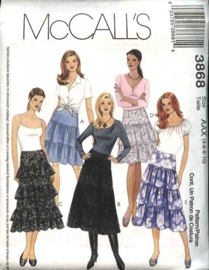 McCall's Sewing Pattern 3868 Misses Size 4-10 Lined Tier Peasant Skirts