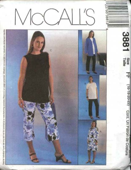 McCall's Sewing Pattern 3881 Misses Size 12-18 Maternity Wardrobe jacket Dress Top Pants