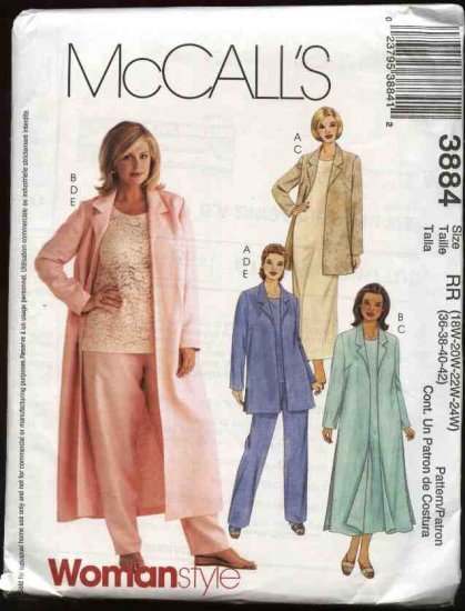 McCall's Sewing Pattern 3884 Womans Plus Size 18W-24W Wardrobe Jacket Dress Top Pants Duster
