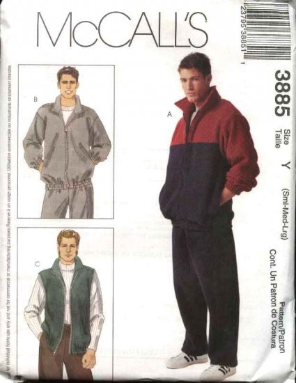 """McCall's Sewing Pattern 3885 Mens Chest Size 46-52"""" Zipper Front Jacket Vest Pull On Pants"""