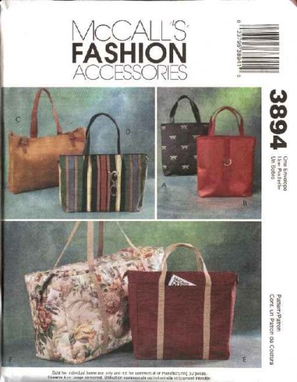McCall's Sewing Pattern 3894 Fashion Accessories Lined Tote Bags Duffle Purse Carryall