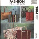McCall&#39;s Sewing Pattern 3894 Fashion Accessories Lined Tote Bags Duffle Purse Carryall