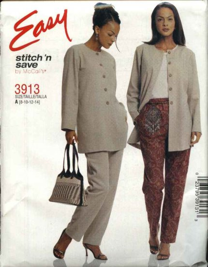 McCall's Sewing Pattern 3913 Misses Size 8-14 Easy Button Front Shirt-Jacket Pull On Long Pants