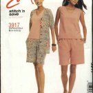 McCall's Sewing Pattern 3917 M3917 Misses Size 8-14 Easy Button Front Jacket Sleeveless Top Shorts
