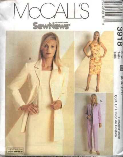 McCall's Sewing Pattern 3918 Misses Size 8-14 Sew News Wardrobe Jacket Sleeveless Dress Top Pants