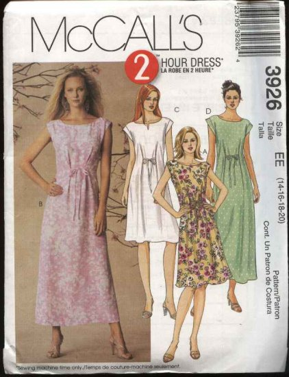 McCall's Sewing Pattern 3926 Misses Size 8-14 Pullover Loose-fitting A-line Sleeveless Summer Dress