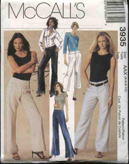 McCall's Sewing Pattern 3935 Misses 4-10 Yoke Waist Long Cropped Wide Legged Bell Bottom Pants