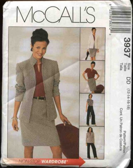 McCall's Sewing Pattern 3937 M3937 Misses Size 12-18 Wardrobe Lined Jacket Pullover Top Skirt Pants