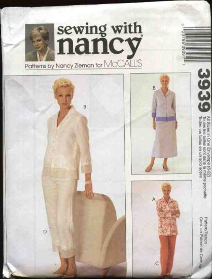 McCall's Sewing Pattern 3939 Misses Size 8-22 Sewing With Nancy Button Front Top Skirt Pants