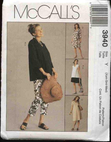 McCall�s Sewing Pattern 3940 Misses Size 4-14 Maternity Wardrobe Dress Top Capri Pants Shorts