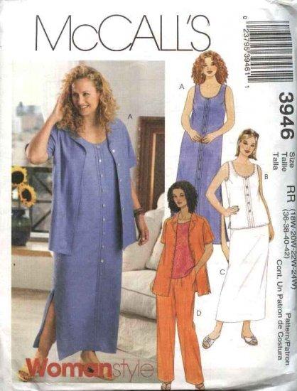 McCall's Sewing Pattern 3946 Womans Plus Size 18W-24W Wardrobe Dress Skirt Top Pants Skirt