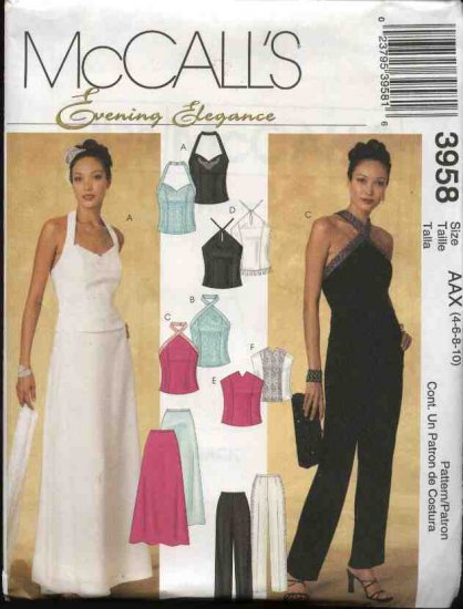 McCall's Sewing Pattern 3958 Misses Size 12-18 Formal Evening Prom Halter Tops Long Skirt Pants