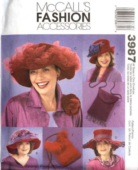 McCall�s Sewing Pattern 3987 M3987 Red Hat Society Hats Purses