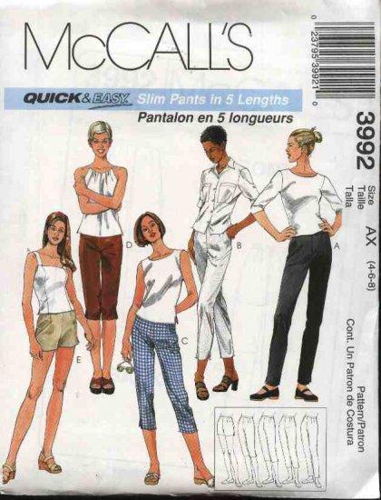 McCall's Sewing Pattern 3992 Misses Size 4-8 Easy Slim Pants Capris Cropped Berumda Short Shorts