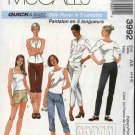 McCall's Sewing Pattern 3992 Misses Size 8-12 Easy Slim Pants Capris Cropped Berumda Short Shorts