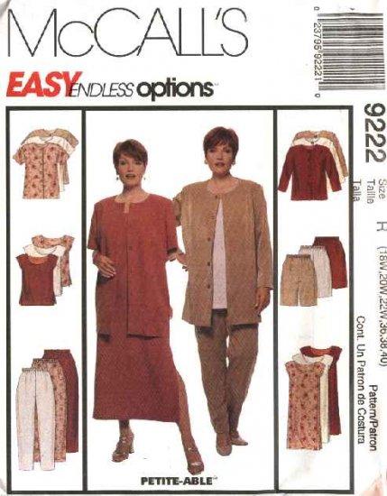 McCall's Sewing Pattern 9222 Womans Plus Size 18W-22W Wardrobe Jacket Dress Top Pants Shorts