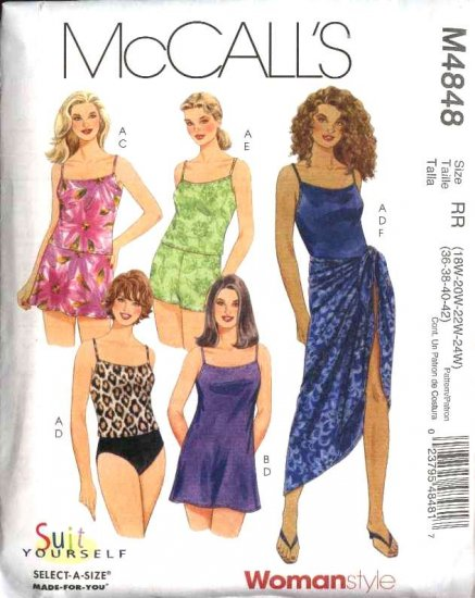 McCall's Sewing Pattern 4848 Womans Plus Size 18W-24W 2-Piece Swimming Suit Tops Bottoms Sarong