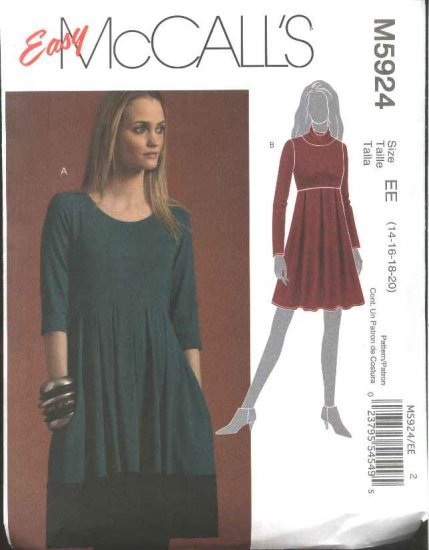 McCall's Sewing Pattern 5924 Misses Size 14-20 Easy Loose-Fitting Raised Waist Empire Knit Dress
