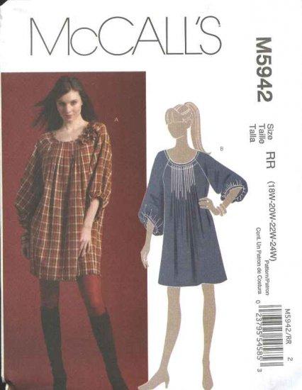 McCall's Sewing Pattern 5942 Womans Plus Size 18W-24W Pullover Loose Fitting Dress Fabric Flowers