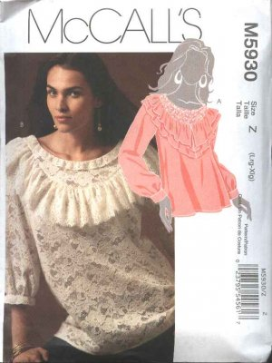 McCall's Sewing Pattern 5930 Misses Size 16-22 Pullover Tops Blouses Ruffles Short Long Sleeves