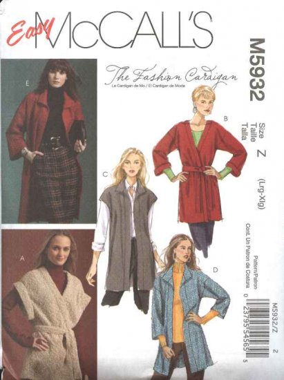 McCall's Sewing Pattern 5932 Misses Size 16-22 Easy Sleeveless Long Sleeve Knit  Cardigan Belt