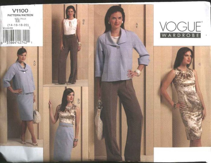 Vogue Sewing Pattern 1100 Misses Size 14-20 Easy Wardrobe jacket Top Dress Skirt Pants Suit Pantsuit