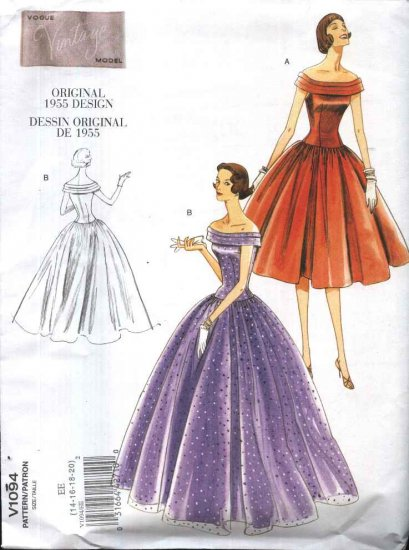 Vogue Sewing Pattern 1094 Misses Size 14-20 1955 Original Design Formal Evening Dress Gown Prom
