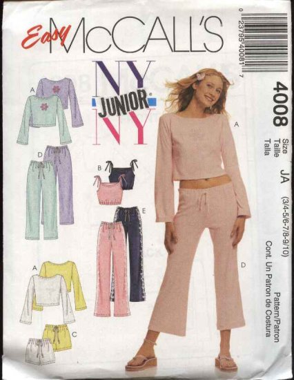 McCall's Sewing Pattern 4008 Junior size 3/4-9/10 Easy Wardrobe Knit Lounge Tops Shorts Pants