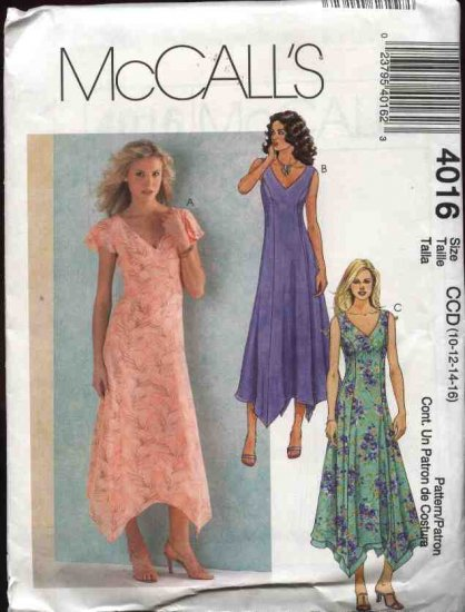 McCall's Sewing Pattern 4016 Misses Size 10-16 Princess Seam Handkerchief Hemline Dresses