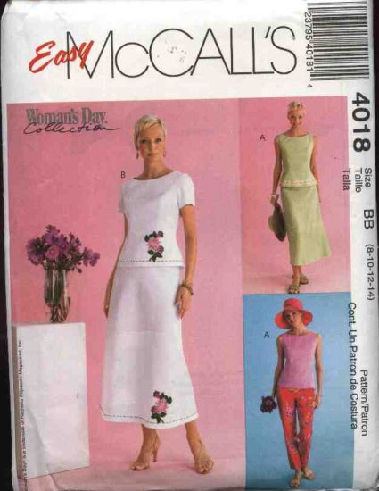 McCall's Sewing Pattern 4018 Misses Size 8-14 Woman's Day Collection Easy Skirt Top Pants
