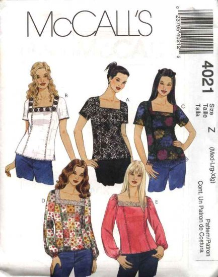 McCall's Sewing Pattern 4021 Misses Size 4-14 Pullover Square Neckline Yoke short Long Sleeve Tops
