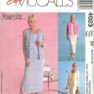 McCall's Sewing Pattern 4023 Misses Size 16-22 Easy  Straight Sleeveless Dress Knit Cardigan
