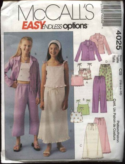 McCall's Sewing Pattern 4025 Girls' Size 12-16 Easy Wardrobe Shirt Tops Pants Skirt