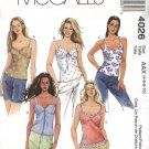 McCall's Sewing Pattern 4026 Misses Size 4-10 Lined Sleeveless Button Back Bra Tops