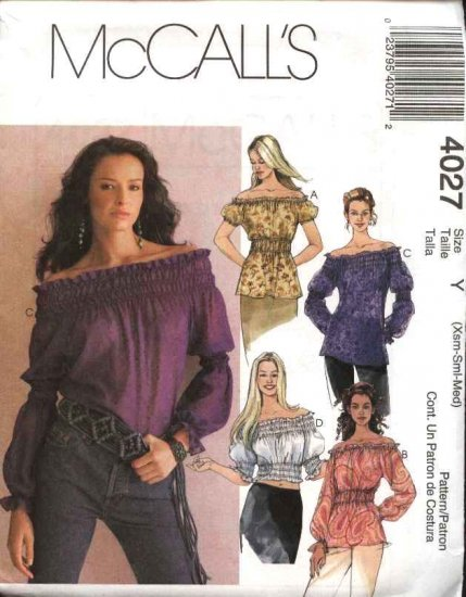 McCall's Sewing Pattern 4027 Misses Size 4-14 Loose Fitting  Pullover Peasant Off The Shoulder Tops