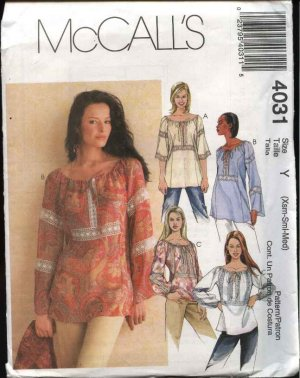 McCall's Sewing Pattern 4031 Misses Size 4-14 Pullover Loose Fitting Peasant Style Tops