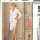 McCall's Sewing Pattern 4033 Misses Size 10-16 Button Front Jackets Straight Dresses Skirt Suit