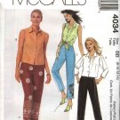 McCall's Sewing Pattern 4034 Misses Size 16-22 Button Front Shirt Tops Cropped Capri Pants