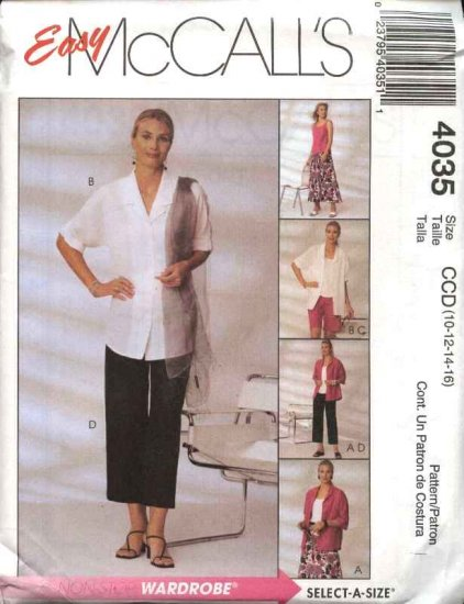 McCall's Sewing Pattern 4035 M4035 Misses Size 10-16 Easy Wardrobe Shirt Top Pants Shorts Skirt