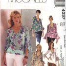 McCall's Sewing Pattern 4037 Misses Size 4-14 Pullover Bias Blouse Tops Sleeve Variations
