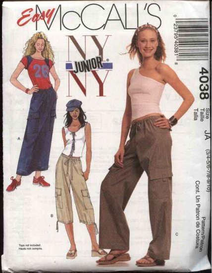McCall's Sewing Pattern 4038 Junior size 3/4-9/10 Easy NYNY Drawstring Cargo Pants Straight Skirt
