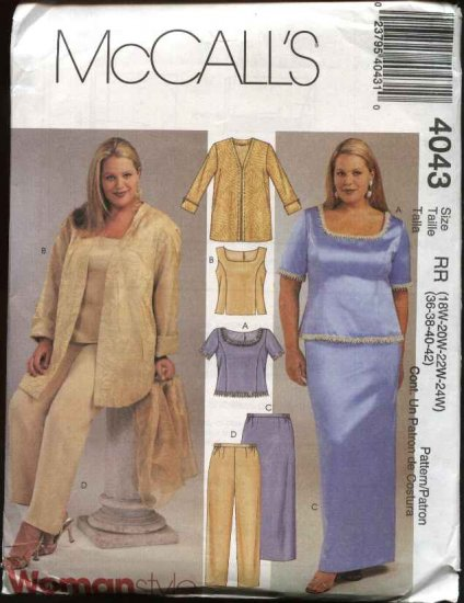 McCall�s Sewing Pattern 4043 Womans Plus Size 26W-32W Formal Evening Wardrobe 2-Piece Dress Jacket