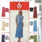 McCall's Sewing Pattern 4054 Misses Size 8-14 Easy Sleeveless Dress Short Long Sleeve Jacket