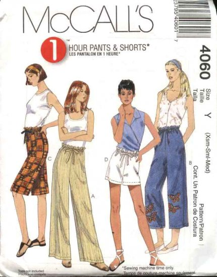 McCall's Sewing Pattern 4060 Misses Size 4-14 1 Hour Pull On Cropped Long Pants Bemuda Shorts