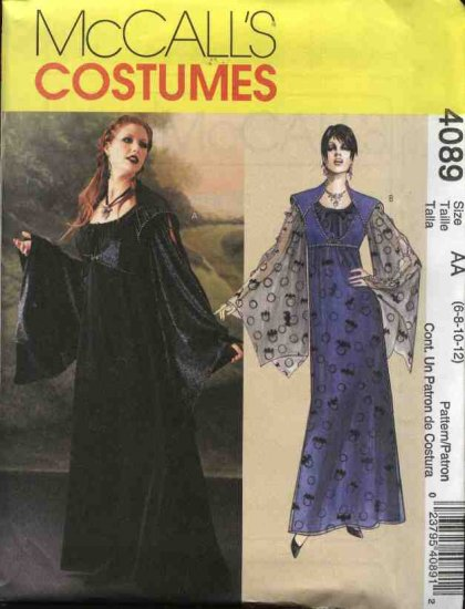McCall�s Sewing Pattern 4089 Misses Size 6-12 Gothic Long Gown Dress Vest Costume