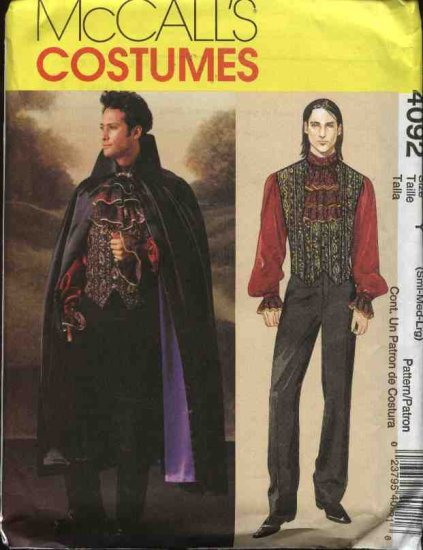 """McCall's Sewing Pattern 4092 Mens Chest Size 46-52"""" Vampire Fantasy Costume Cape Vest Shirt Jacket"""