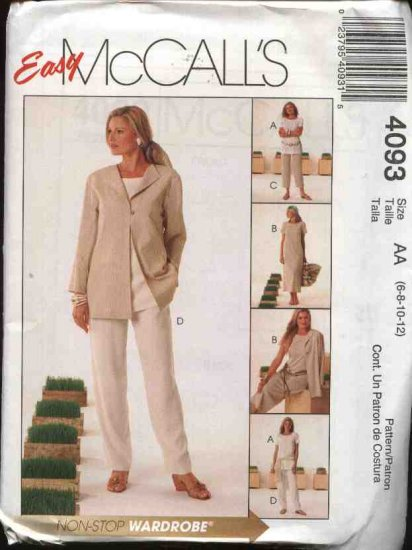 McCall's Sewing Pattern 4093 Misses Size 6-12 Easy Wardrobe Jacket Tunic Dress Cropped Long Pants