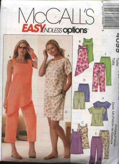 McCall's Sewing Pattern 4099 Misses Size 12-18 Easy Summer Wardrobe Pullover Tops Capri Pants Shorts