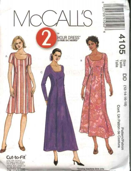 McCall's Sewing Pattern 4105 Misses Size 8-14 2-Hour A-line Long Short Pullover Dress