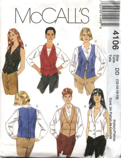McCall's Sewing Pattern 4106 Misses Size 12-18 Button Front Tuxedo Halter Tie-Front Vest